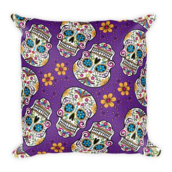 Sugar Skull Day of the Dead PURPLE Square Pillow