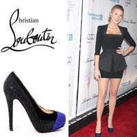 Christian Louboutin Calypso Platform Pumps Black Blue - $187