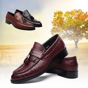 Men Oxford Shoes Men Dress Shoes Real Leather Loafer Business Casual Walking Shoes Leather Tassels Shoes