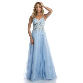 Appliqued Long Prom Dress with Spaghetti Straps Ice Blue