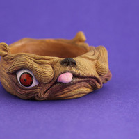 Monster creature bangle unique artist art jewellery pug dog sculpted sculpt resin jewelry teeth eyes funky odd weird cool statement flesh