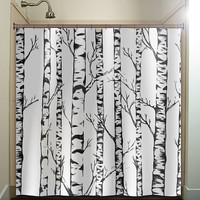 winter forest birch trees shower curtain bathroom decor fabric kids bath white black custom duvet cover rug mat window