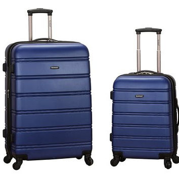 "F225-BLUE 20"", 28"" 2Pc Expandable Spinner Luggage Set"