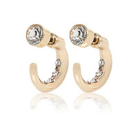River Island Womens Gold tone hoop front and back earrings