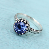 Vintage sapphire ring, sterling silver, Swarovski sapphire crystal, antique style, floral band, 8 mm crown setting, September birthstone
