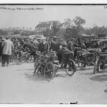 c.1908 WWI Motorcycles Requisitioned for War in Paris-Antique-Old-Vintage Reproduction Photograph/Photo/Poster: Gicclee Print. Frame it!