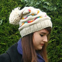 Chunky Knit Gathered Ladies Bobble Hat