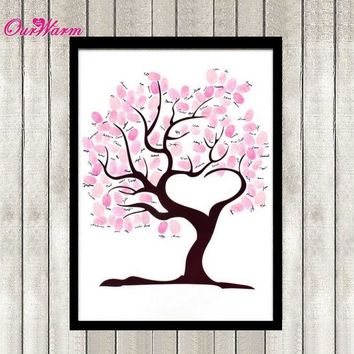 Wedding Fingerprint Tree Signature Guest Book for Wedding Party Graduation Sign in Figure Painting Size S/L Many Styles Optional
