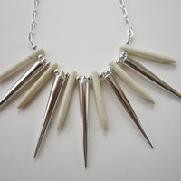 Wolverine - White Howlite Dagger & Silver Spike Necklace