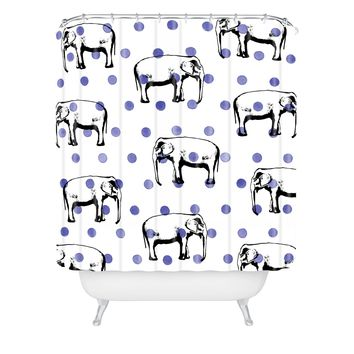 Natalie Baca Polka Dots And Big Ears Shower Curtain