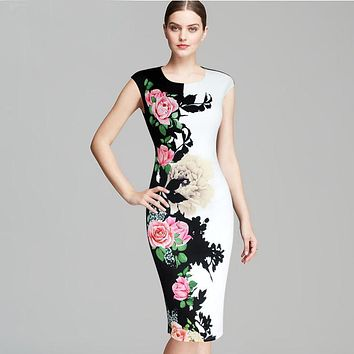 Womens Dresses Vintage Flower Floral Printed Contrast Patchwork Slimming Vestidos Casual Party Sheath Bodycon Dress 227