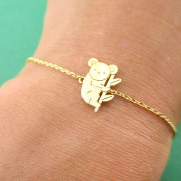 Koala Bear on a Branch Shaped Animal Charm Bracelet in Gold