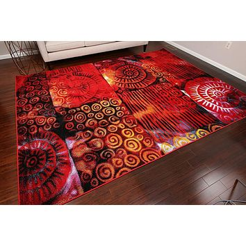 7010 Multi-Color Colorful Contemporary Area Rugs