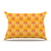 "Apple Kaur Designs ""Wild Summer Dandelions"" Gold Circles Pillow Sham"