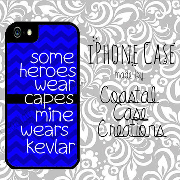 Thin Blue Line Quote Custom Apple iPhone 4 4G 4S 5G Hard Plastic Cell Phone Case Cover Original Trendy Stylish Design