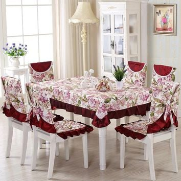 1 Set 13pcs Fashion Vintage Elegant Floral Flower Polyester Tablecloths Chair Cover Banquet Lace Coffee Table Cloth