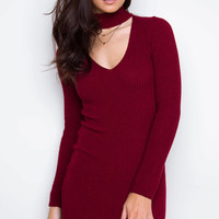 Adelisa Choker Dress - Burgundy