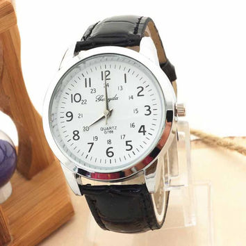 Relogio Feminino 2016 Casual Sport Wristwatch men Roman Numerals Dial Watch Leather Strap Quartz Mens Watches reloj mujer #YHSW