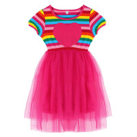 BOBORA Kids Baby Girl Toddler Rainbow Striped Tutu Dresses Girls Top Party Dress Outfit Clothes SM6