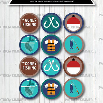 Printable Cupcake Toppers, Gone Fishing, Hunter, Fisherman, Outdoors, Nature, Wild, Woodland, Birthday, Decoration, DIY,  INSTANT DOWNLOAD
