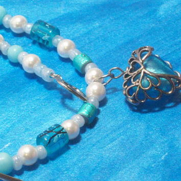 Icy Blue Caged Heart Necklace with Faux Pearls