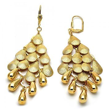 Gold Layered 02.63.2134 Chandelier Earring, Teardrop Design, Matte Finish, Gold Tone