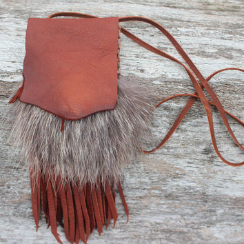 Burgundy Medicine Bag with Fox Fur, Goat Leather Fringed, Shaman Tool, Shamanic Healing Necklace Pouch