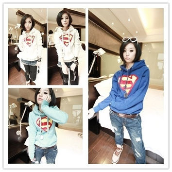 2014 New Cute Women Superman Outwear Hoodie Hoody Coat Tops Outerwear Loose