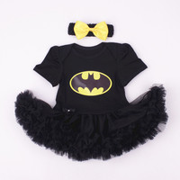 Batgirl Baby Onesuit with Tutu and Hair Bow