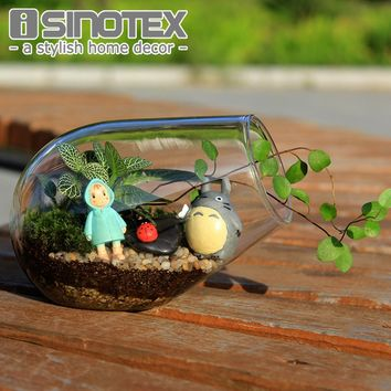 Modern Clear Flat-bottomed Crystal Glass Vase Flower Balls Terrarium Vases For Wedding Decoration