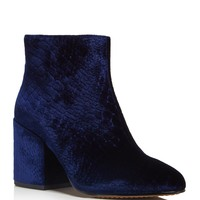 FRENCH CONNECTIONDilyla Croc Embossed Velvet Block Heel Booties
