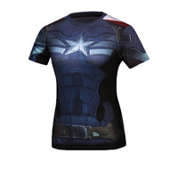 Women Superhero Superman/Captain America T Shirt The New Adventures DC Shirts Female Armor Shield Compression Fitness T-Shirts
