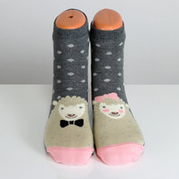 Sheep Funny Women Socks Pink Heart Socks Gray Polka Dot Socks Stocking Funny Socks Animal Socks Cute Socks Fun Socks Cotton Animal Socks
