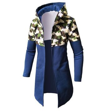 Trendy Winter Jackets Men Slim Fit Camouflage Cardigan 2018 Fashion Long Cloak Coats Plus Size Gown Mantle  Hip Hop Army Green AT_94_13