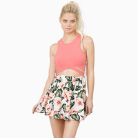 Floral A-Line Pleated Mini Skirt