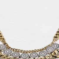 AEO Women's Gemstone And Disc Bib Necklace (Mixed Metal)