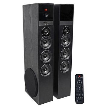 "Rockville TM150B Black Home Theater System Tower Speakers 10"" Sub/Blueooth/U"