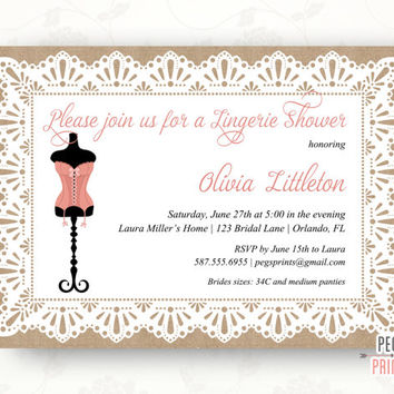 Burlap and Lace Lingerie Party Invitation (Printable) Burlap and Lace Lingerie Shower Invitation