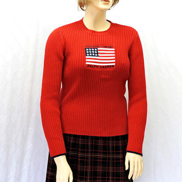 Vintage Polo Ralph Lauren sweater / size L / red knit USA flag sweater / SunnyBohoVintage