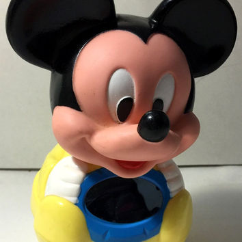 Disney Mickey Mouse Roly-Poly Weeble Wooble Chime Vintage Toy - 1984 -  (VG)