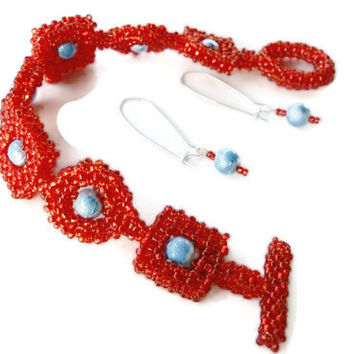 Red and Aqua Beaded Bracelet and Earrings