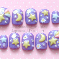 3D nails, deco nails, fairy kei, sweet lolita, star, lavender, pastel, kawaii, Japanese nail art, round tips