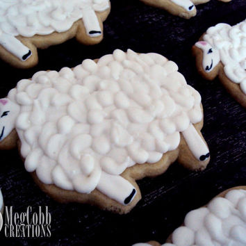 Large Wooly Sheep Sugar Cookies, white sheep, black sheep, baby shower, baby, vanilla almond, white, black, sheep, wool, animal, cookie
