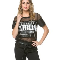 Parental Advisory Quilted and Netted Crop Top in Black
