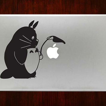 "Totoro Holding Leaf m733 Design Decal Sticker Vinyl For Macbook Pro Air Retina 13"" 15"" 17"" Inch Laptop Cover"