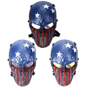 Military Tactical Impact Resistant Paintball Protection Cosplay PC Lens Skull Full Face Mask 3 Colors Lens Cycling Face Mask