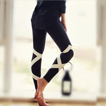 2017 Cool Two Tone Contrst Color Cross Ballet Dance Leggings Slim Fitness Running Jogging Tights High Waist Yoga Pants