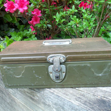 Metal Tackle Box Tool Box with Tray Industrial Mid Century Mad Men Rustic Army Green