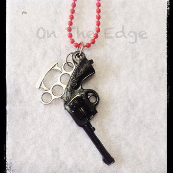 Gangster Charm Necklace - Pistol and Brass Knuckles Necklace