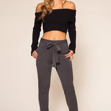 Beau Pants - Grey Pinstripe